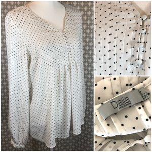 DALIA Black White Polka Dot Button LS Blouse L EUC